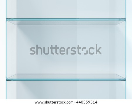 Green glass shelves in white studio. 3d rendering - stock photo