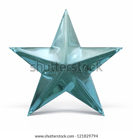 Green Glass Star render (isolated on white and clipping path) - stock photo