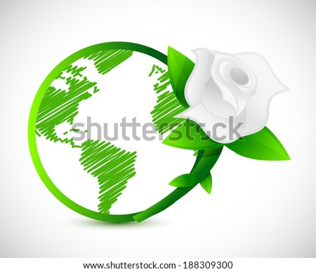 green globe and a rose. illustration design over a white background - stock photo