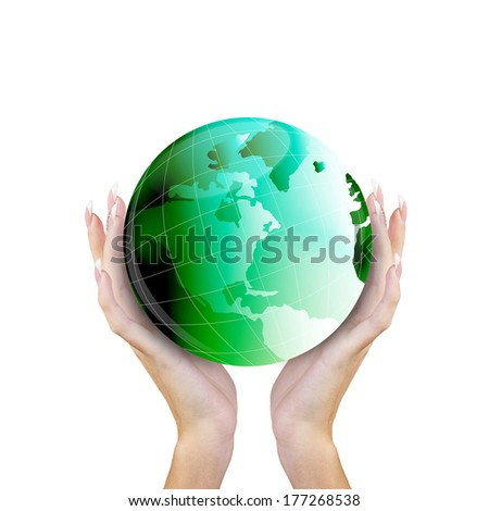 Green Globe Planet Earth in Hands Woman on white background.Ecology concept