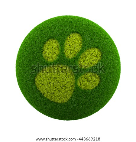 Green Globe with Grass Cutted in the Shape of a Dog Footprint 3D Illustration Isolated on White Background - stock photo