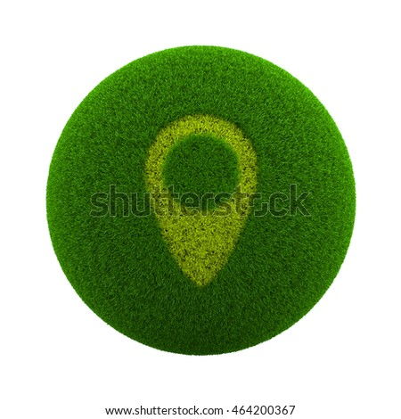 Green Globe with Grass Cutted in the Shape of a Map Placeholder Symbol 3D Illustration Isolated on White Background