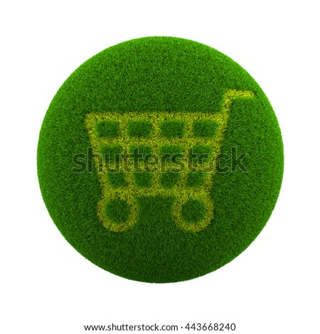 Green Globe with Grass Cutted in the Shape of a Shopping Cart 3D Illustration Isolated on White Background