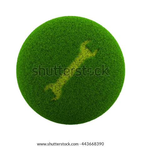 Green Globe with Grass Cutted in the Shape of a Wrench 3D Illustration Isolated on White Background
