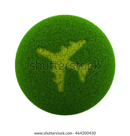 Green Globe with Grass Cutted in the Shape of an Airplane Symbol 3D Illustration Isolated on White Background