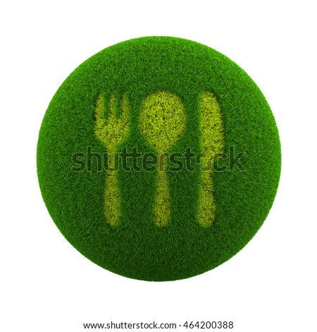 Green Globe with Grass Cutted in the Shape of Cutlery Symbol 3D Illustration Isolated on White Background