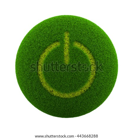Green Globe with Grass Cutted in the Shape of Power On-Off Symbol 3D Illustration Isolated on White Background