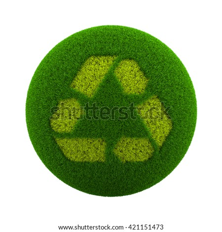 Green Globe with Grass Cutted in the Shape of Recycle Symbol 3D Illustration Isolated on White Background