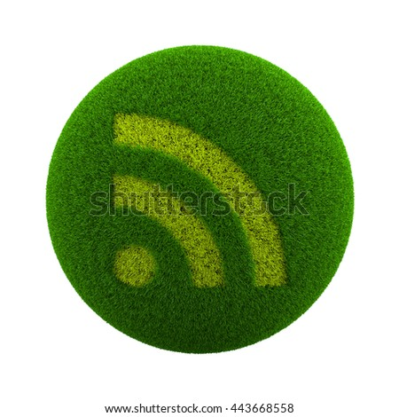 Green Globe with Grass Cutted in the Shape of RSS Symbol 3D Illustration Isolated on White Background