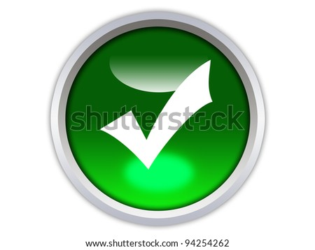 green glossy button with white checkmark icon isolated over white background - stock photo