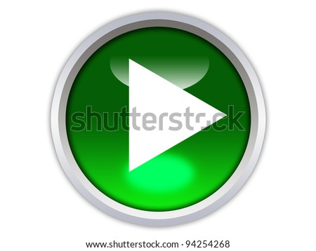 green glossy button with white triangle turned left icon isolated over white background - stock photo