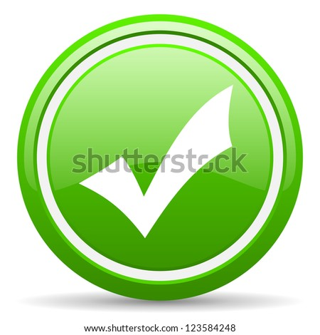 green glossy circle web icon on white background with shadow - stock photo