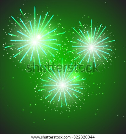 Green Glossy Fireworks Background Illustration