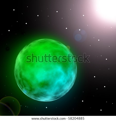 Green glowing planet in universe with sun reflection illustration