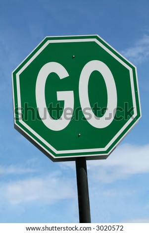 Green Go Sign - stock photo
