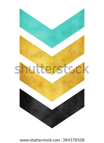 green gold and black chevron stripes - stock photo