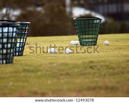 Green Golf Course Series - Ball basket - stock photo