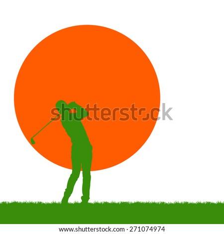 green golfer on sunset - stock photo