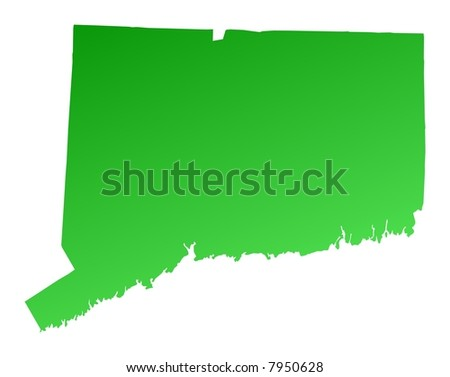Green gradient Connecticut map, USA. Detailed, Mercator projection.