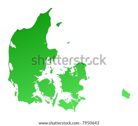 Green gradient Denmark map. Detailed, Mercator projection.
