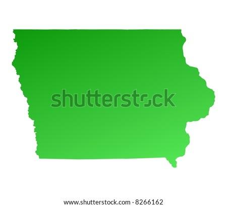 Iowa Usa Light Blue Map Shadow Stock Illustration - Iowa map us