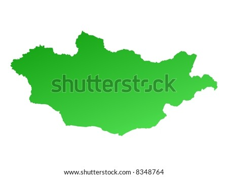 Green gradient Mongolia map. Detailed, Mercator projection.