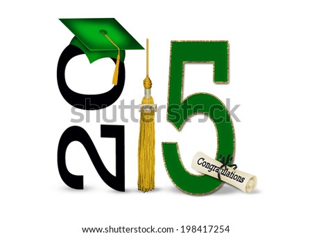 green graduation cap and gold tassel with diploma for class of 2015 - stock photo