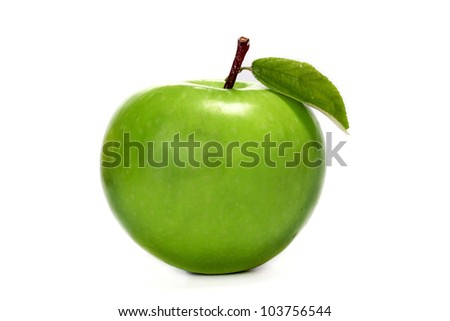Green Granny Smith apple isolated on white - stock photo
