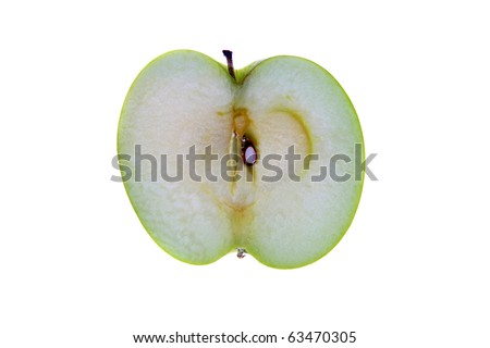 "Green ""granny smith"" apple slice isolated on white with room for your text"
