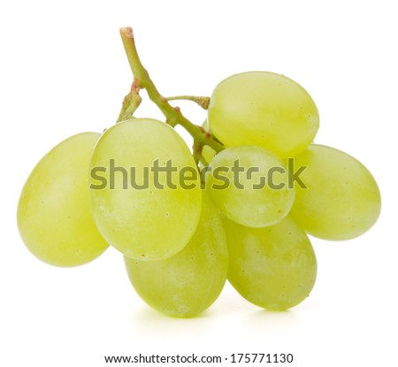 Green grape bunch isolated on white background cutout - stock photo