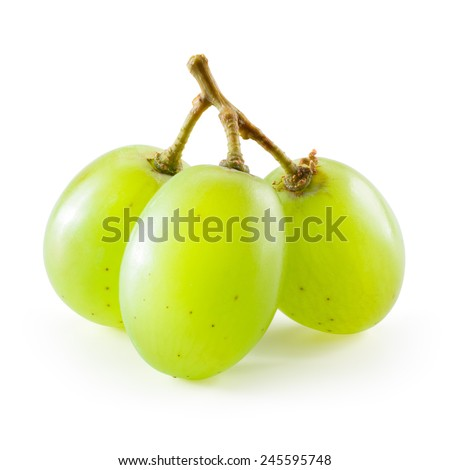 Green grape. Three berries isolated on white background - stock photo
