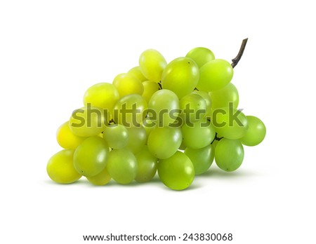 Green grapes horizontal no leaf isolated on white background as package design element - stock photo