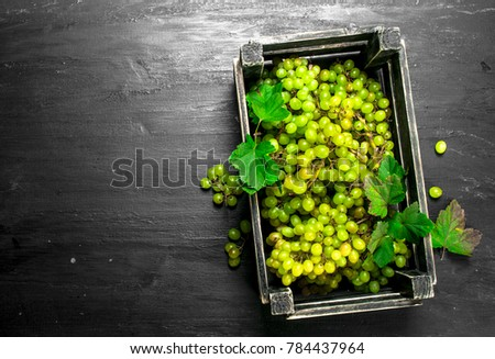 Green grapes in a box. On the black chalkboard.
