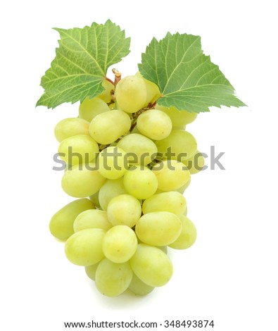 green grapes isolated on white  - stock photo