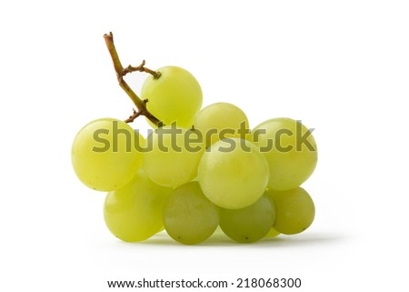 Green grapes isolated on white background - stock photo