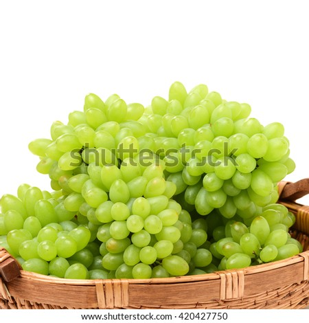 green grapes on white background - stock photo