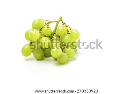 Green Grapes shoot over white background