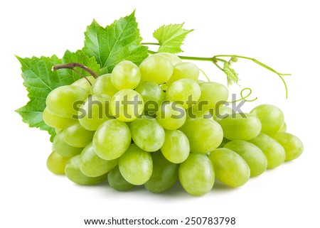 Green grapes with leaves. Isolated on white - stock photo