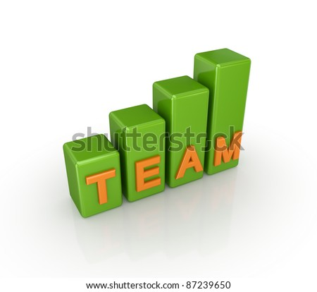 Green graph with a word TEAM.Isolated on white background. 3d rendered. - stock photo