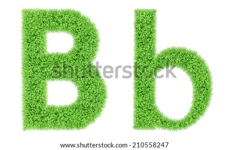 green grass alphabet isolated on white background, green moss alphabet, B