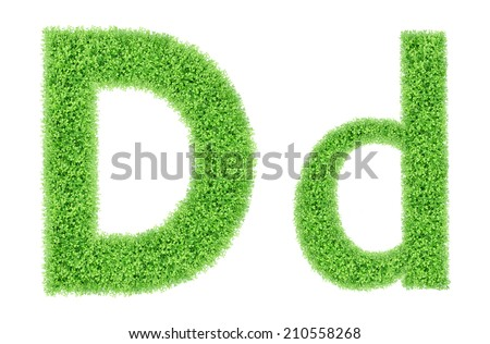 green grass alphabet isolated on white background, green moss alphabet, D