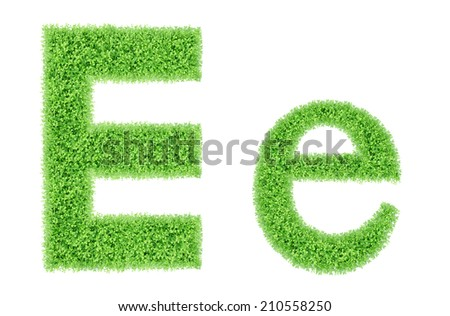 green grass alphabet isolated on white background, green moss alphabet, E