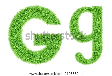 green grass alphabet isolated on white background, green moss alphabet, G