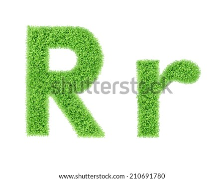 green grass alphabet isolated on white background, green moss alphabet, R