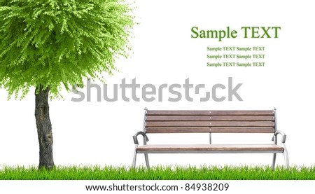 Green grass and bench on white background with place for text