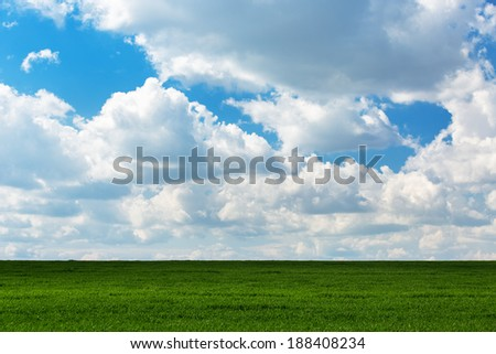 Green grass and blue sky with clouds - stock photo