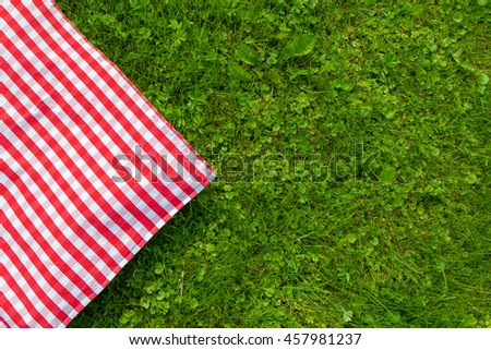 Green grass and checkered tablecloth background for picnic, top view
