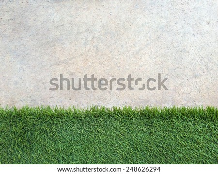 Green Grass and concrete background in landscape view - stock photo