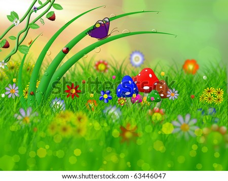 green grass and flowers in the field - stock photo