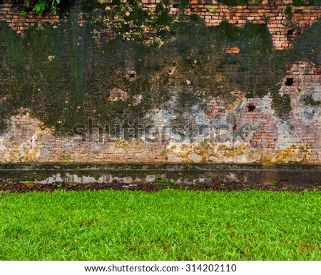 Green grass and old brick wall background red urban cracked building - stock photo